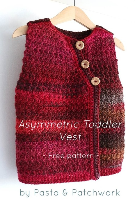 Pasta & Patchwork Winter 2014-15 Project Round-up: Asymmetric Toddler Vest - link to free pattern in post