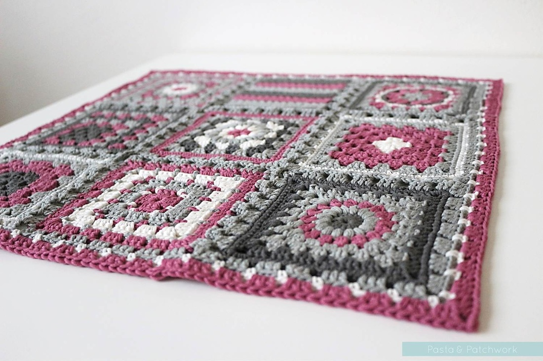 Crochet meets Patchwork Afghan by Pasta & Patchwork | Fuchsia Granny Squares