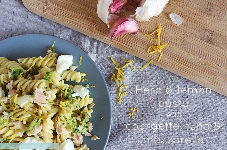 Herb & Lemon Pasta with Courgette, Tuna & Mozzarella | a recipe from the Pasta & Patchwork blog