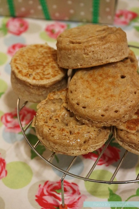 homemade wholewheat crumpets