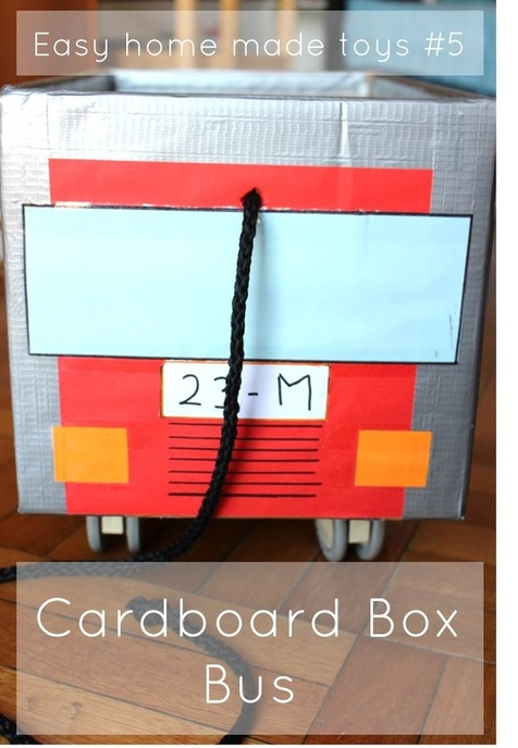 Cardboard Box Bus - Step by step instructions by Pasta & Patchwork