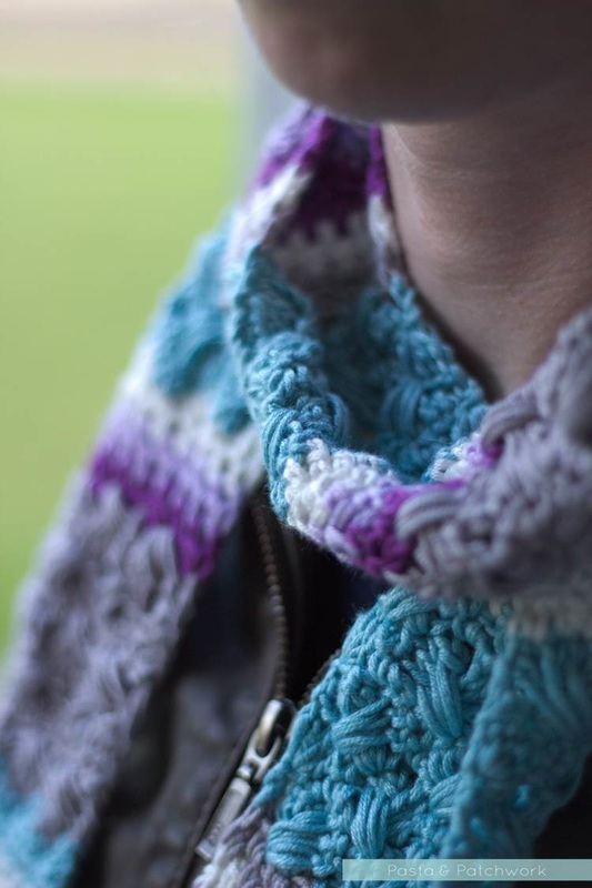Sneak preview of the Lavender Skies Skinny Scarf by Eline Alcocer - Pattern coming early 2016